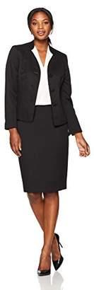 Le Suit Women's Jacquard 3 Button Jacket Skirt Suit