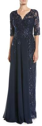 Rickie Freeman For Teri Jon Lace Gown w/ Chiffon Overlay Skirt