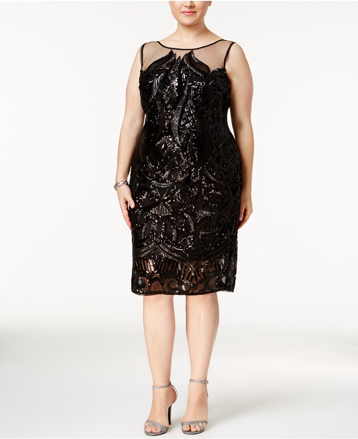 Adrianna PapellAdrianna Papell Plus Size Sequined Illusion Cocktail Dress