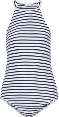 Splendid - Striped Stretch-jersey Halterneck Bodysuit - White $105 thestylecure.com