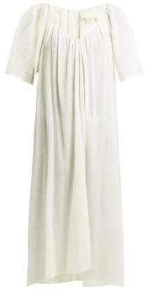 Anaak - Uma Gathered Cotton Gauze Midi Dress - Womens - Cream