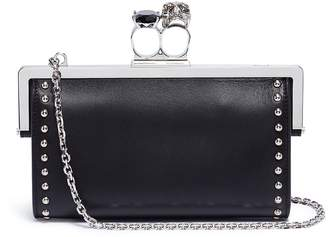 Alexander McQueen Swarovski crystal stud leather knuckle chain wallet