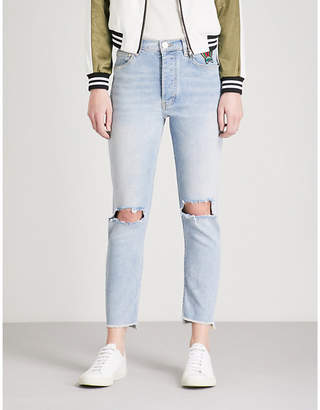 Maje Paolo distressed skinny high-rise jeans