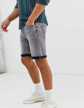 ONLY & SONS denim shorts in gray wash