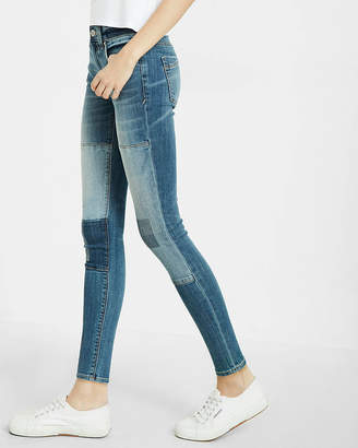 Express Mid Rise Patch Ankle Jean Leggings