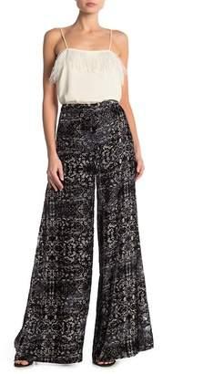 Haute Hippie Printed Velvet Wide Leg Pants