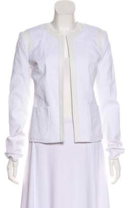 L'Agence Leather-Trimmed Textured Jacket