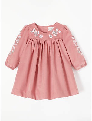 John Lewis & Partners Baby Embroidered Cord Dress, Pink