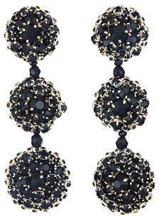 Oscar de la Renta Triple Disc Clip-On Drop Earrings