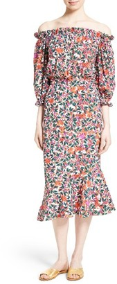 Women's Saloni Grace Print Silk Off The Shoulder Dress $625 thestylecure.com