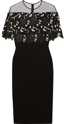 Lela Rose - Tulle-paneled Guipure Lace And Stretch Wool-blend Crepe Dress - Black $1,695 thestylecure.com