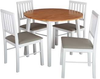 6d0fddb0bc Argos Home Kendal Round Drop Leaf Table & 4 Chairs -Two Tone