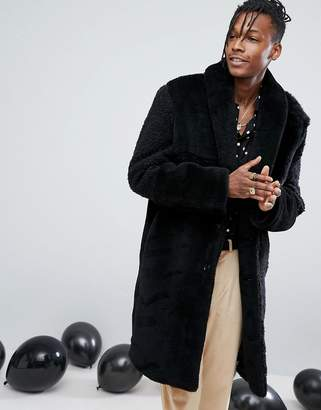 Asos Patchwork Faux Fur Overcoat In Black