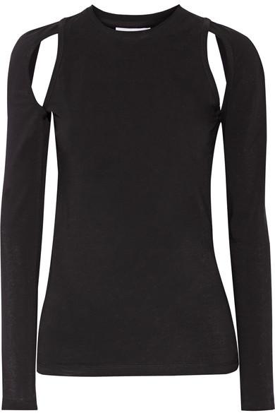 DKNY - Cutout Stretch-cotton Jersey Top - Black