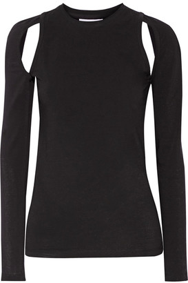 DKNY - Cutout Stretch-cotton Jersey Top - Black $180 thestylecure.com