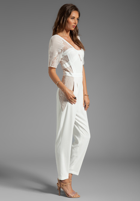 BCBGMAXAZRIA Runway Lace Sleeve Jumpsuit