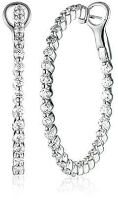 14k Gold Diamond Inside-Outside Hoop Earrings (2 cttw