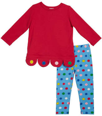 Florence Eiseman Girl's Scallop Bottom Tunic with Circle Printed Leggings, Size 2-6X