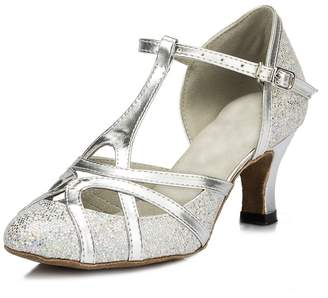 Minishion Women's T-Strap Black Glitter Salsa Tango Ballroom Latin Dance Shoes Wedding Pumps 8.5 US