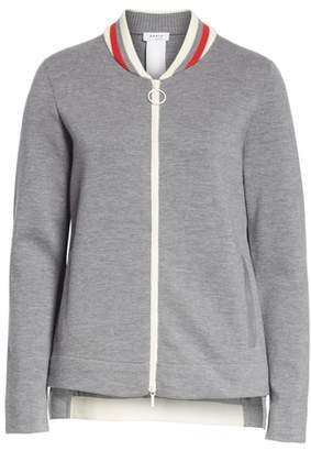 Akris Punto Stretch Wool Knit Bomber Jacket
