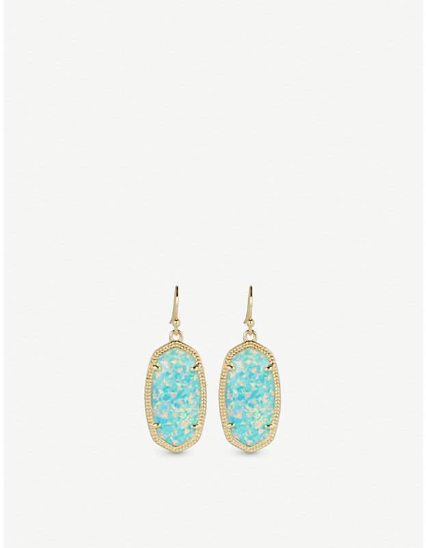Dani 14ct gold-plated Aqua Kyocera Opal drop earrings