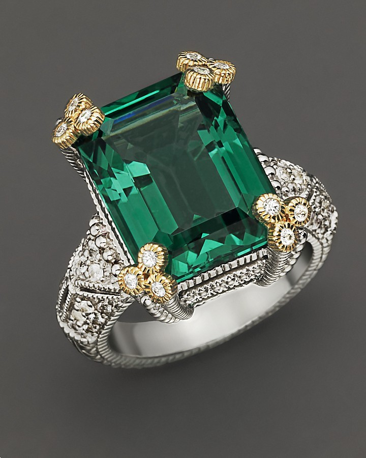 "Judith Ripka Estate"" Emerald Cut Ring With Green Quartz And White Sapphires"
