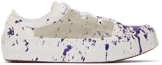 Needles Purple and White Paint Asymmetric Ghillie Sneakers