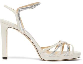 Jimmy Choo Lilah 100 Metallic Leather Sandals - Womens - White Silver