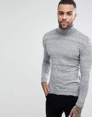 Pull&Bear Roll Neck Sweater In Gray Marl