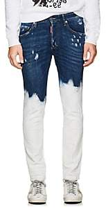 DSQUARED2 Men's Paint-Splatter Distressed Skinny Jeans - Blue Size 48 Eu