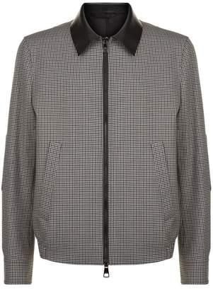 Neil Barrett Check Leather Collar Jacket