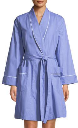 P Jamas Contrast-Piping Short Robe