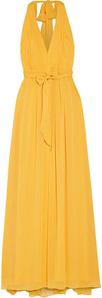 Alice + Olivia - Kassidy Pleated Crepon Maxi Dress - Yellow