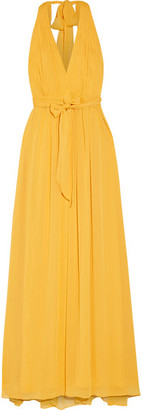 Alice + Olivia - Kassidy Pleated Crepon Maxi Dress - Yellow $385 thestylecure.com