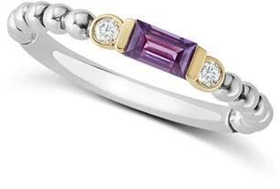Lagos 18K Gold & Sterling Silver Amethyst & Diamond Stacking Ring