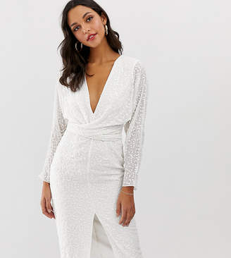 Asos Design DESIGN midi dress with batwing sleeve and wrap waist in scatter sequin