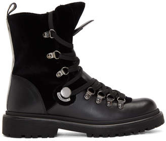 Moncler Black Fur Berenice Hiking Boots