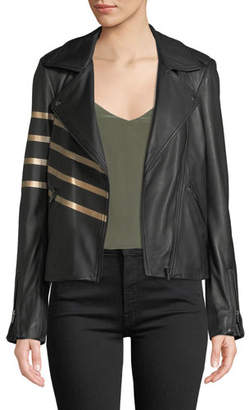 Neiman Marcus Leather Collection Asymmetric-Zip Leather Moto Jacket w/ Metallic Stripes