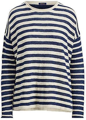 Polo Ralph Lauren (ポロ ラルフ ローレン) - [POLO RALPH LAUREN(ウィメンズ)] ストライプド リネンブレンド セーター