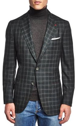 Isaia Windowpane Cashmere-Blend Sport Coat, Green $3,895 thestylecure.com