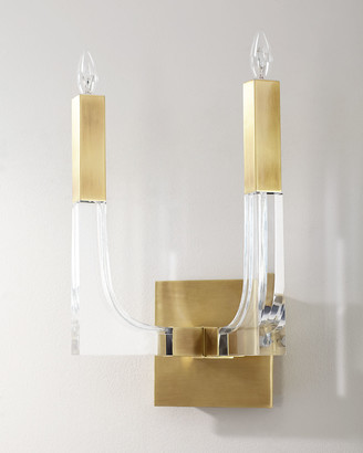 John-Richard Collection John Richard Collection Acrylic and Brass Double-Light Wall Sconce