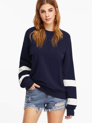 Shein Navy Drop Shoulder Striped Sleeve Sweatshirt