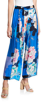 Johnny Was Tura Wrapped Floral-Print Pants, Plus Size