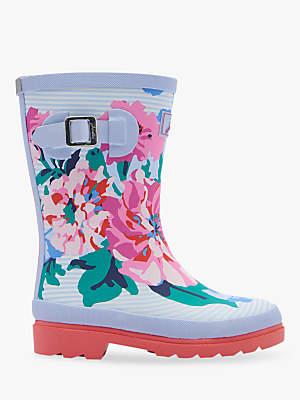 Joules Children's Floral Stripe Wellington Boots, White