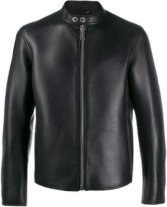 Les Hommes band-collar leather jacket