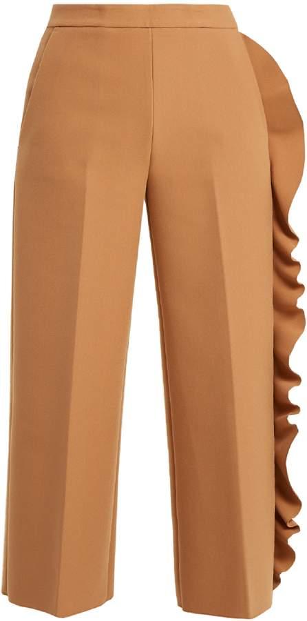 MSGM Asymmetric-ruffle wide-leg crepe-cady trousers