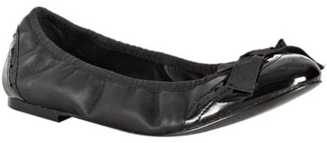 Kelsi Dagger black leather patent detail 'Ashley' ballet flats