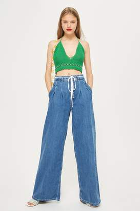 Topshop MOTO Mid Blue Pleated Wide Leg Jeans