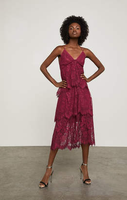 BCBGMAXAZRIA Sleeveless Tiered Floral Lace Dress
