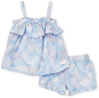 7 For All Mankind Infant Girls) Two-Piece Leaf Print Ruffle Tank & Shorts Set